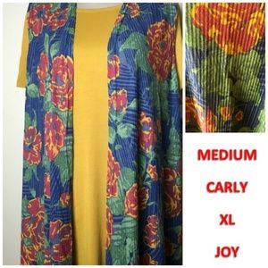 LulaRoe Medium Mustard Carly & XL Floral Joy